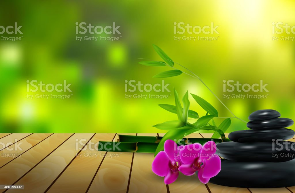 Stone, flower, wax and bamboo on the wood background vector art illustration