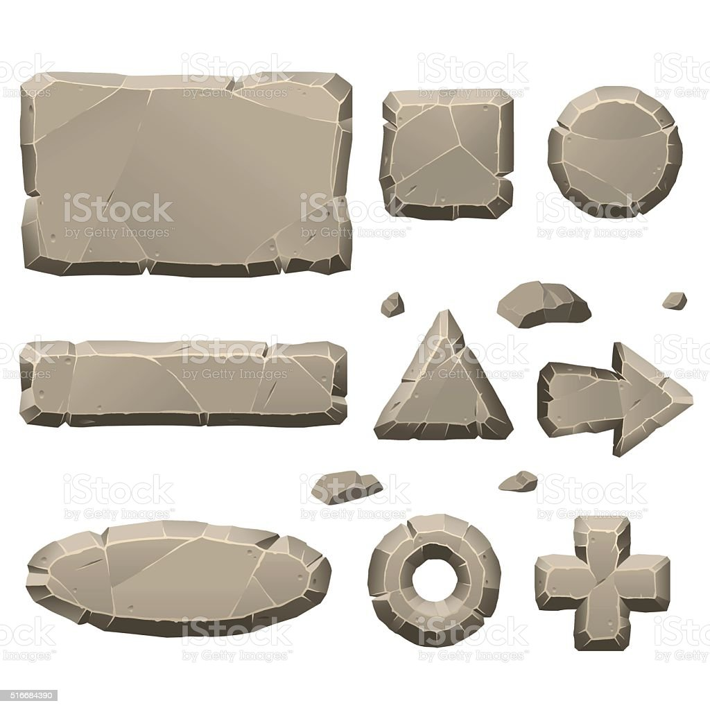 Stone game design elements vector art illustration