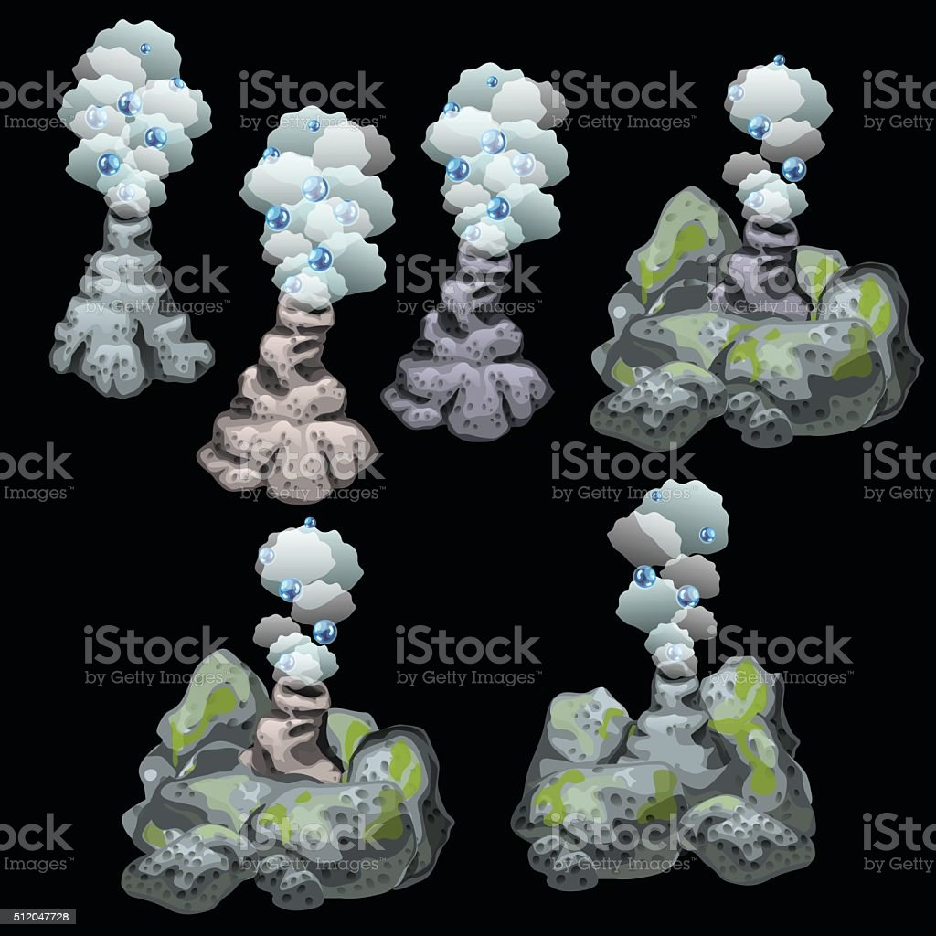 Stone geysers with steam and bubbles, six image vector art illustration