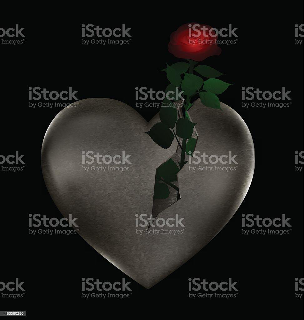 stone heart and rose vector art illustration