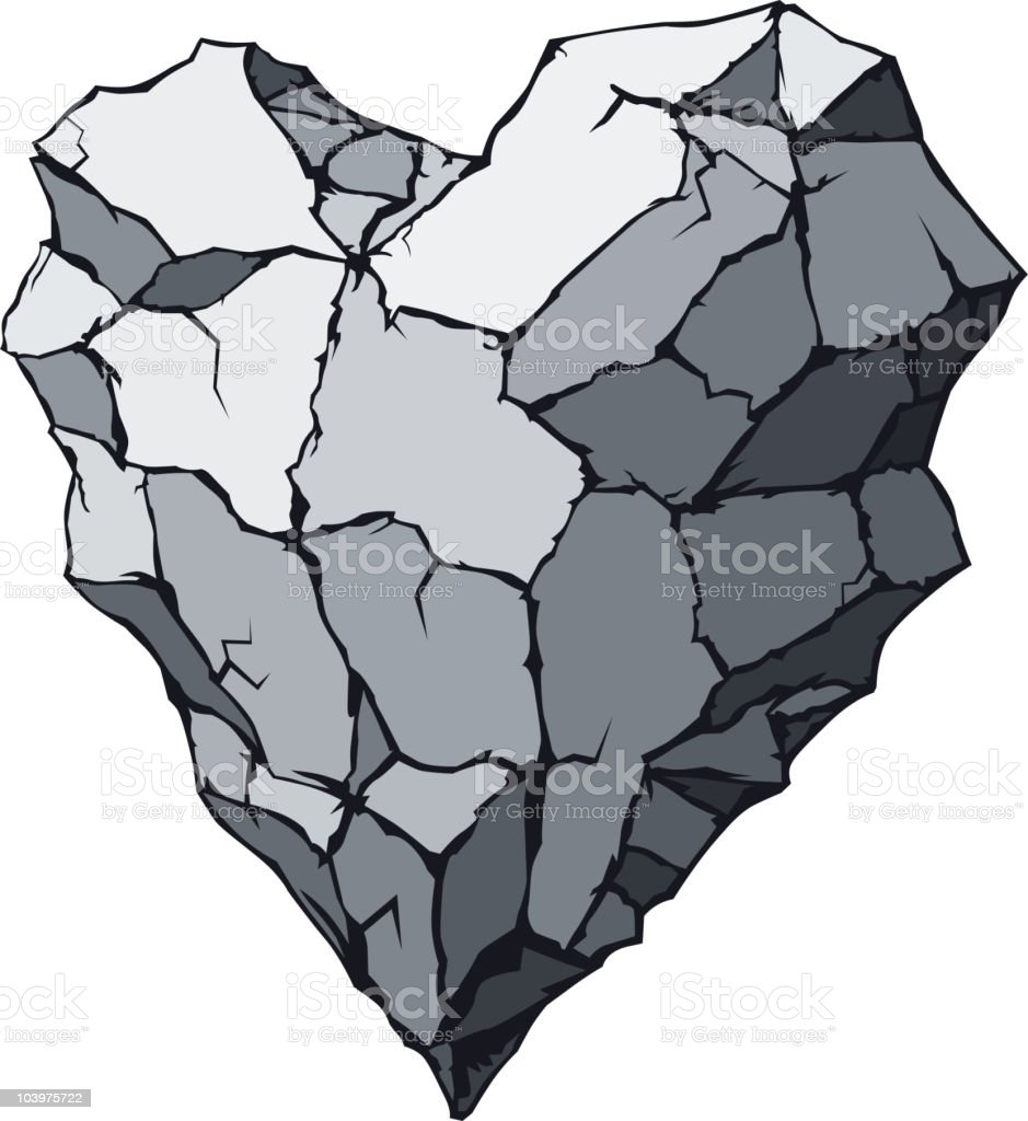 Stone heart vector art illustration