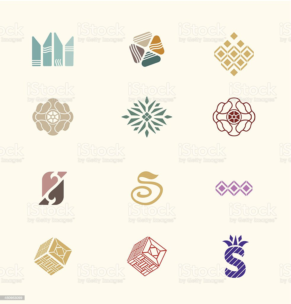 Stone icons set royalty-free stock vector art