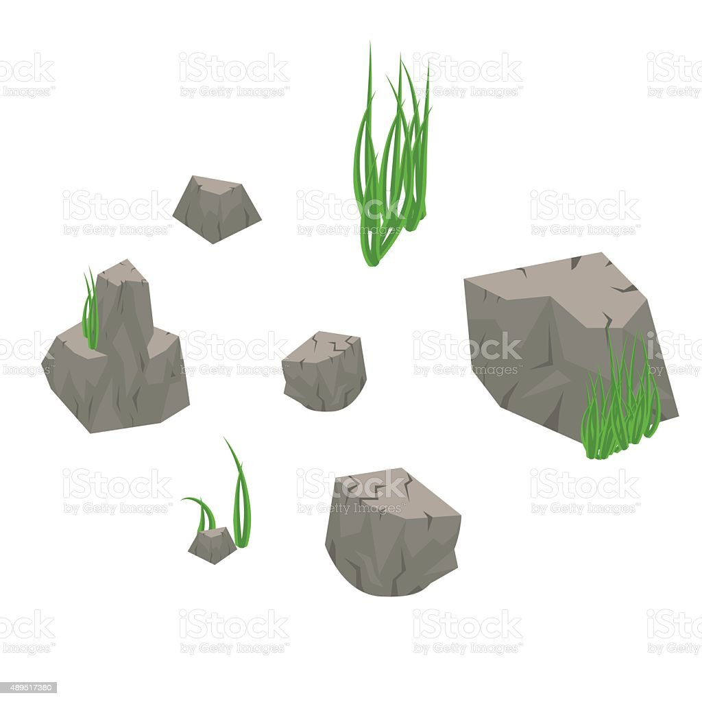 Stone rocks with grass isolated on white. vector art illustration