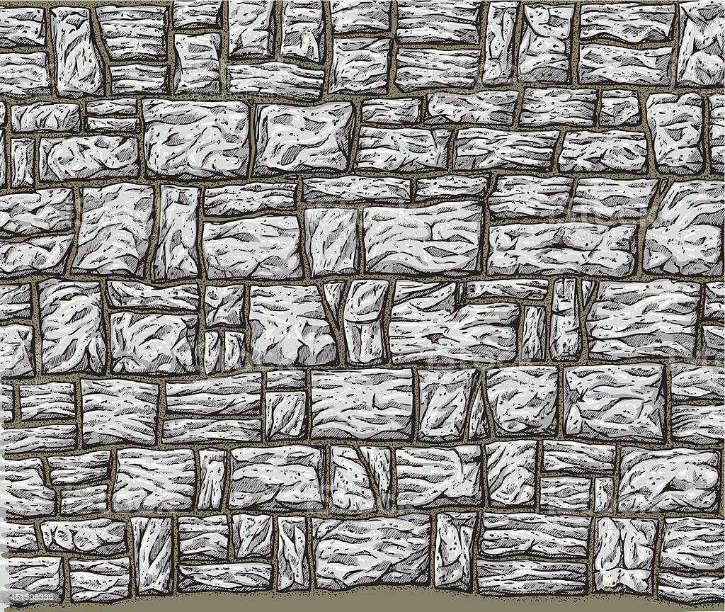 Stone Wall vector art illustration