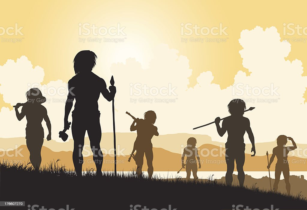 Stoneage hunters royalty-free stock vector art