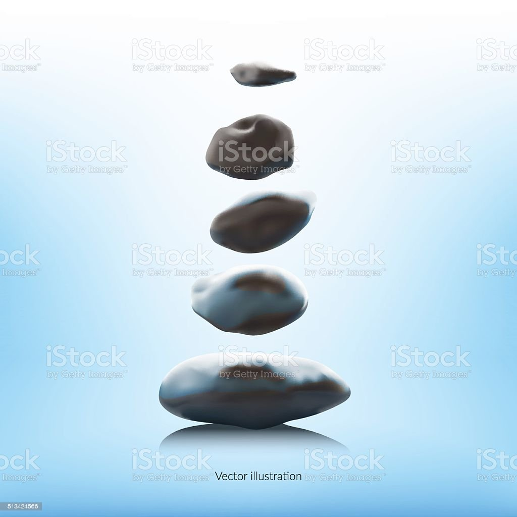 SPA stones on a blue background. vector art illustration