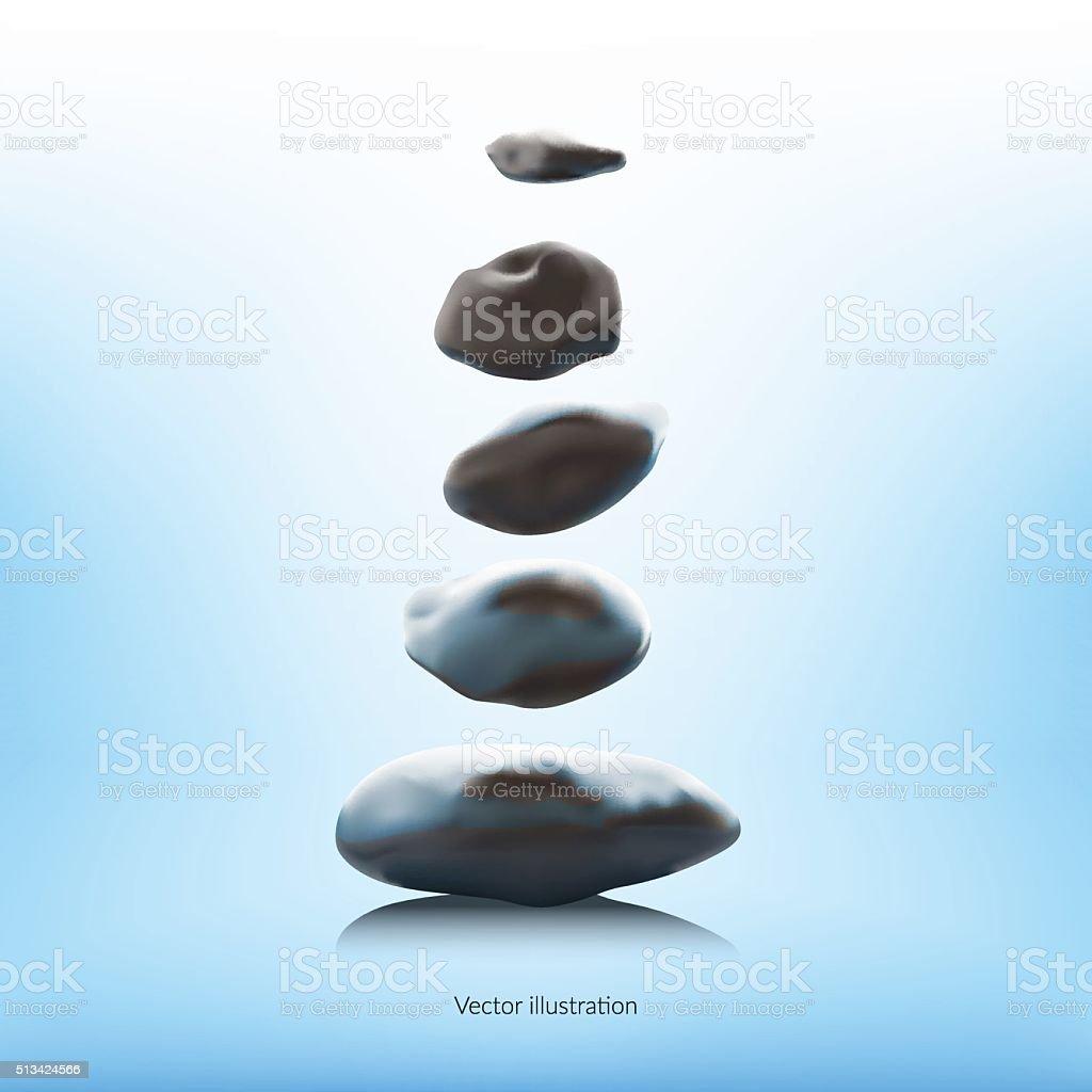 SPA stones on a blue background. vector art illustration