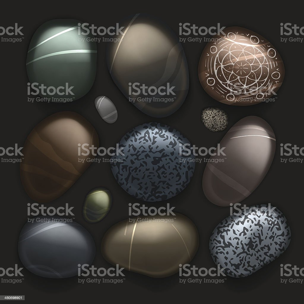 Stones pebble collection isolated on black royalty-free stock vector art