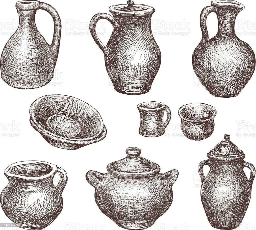 stoneware vector art illustration
