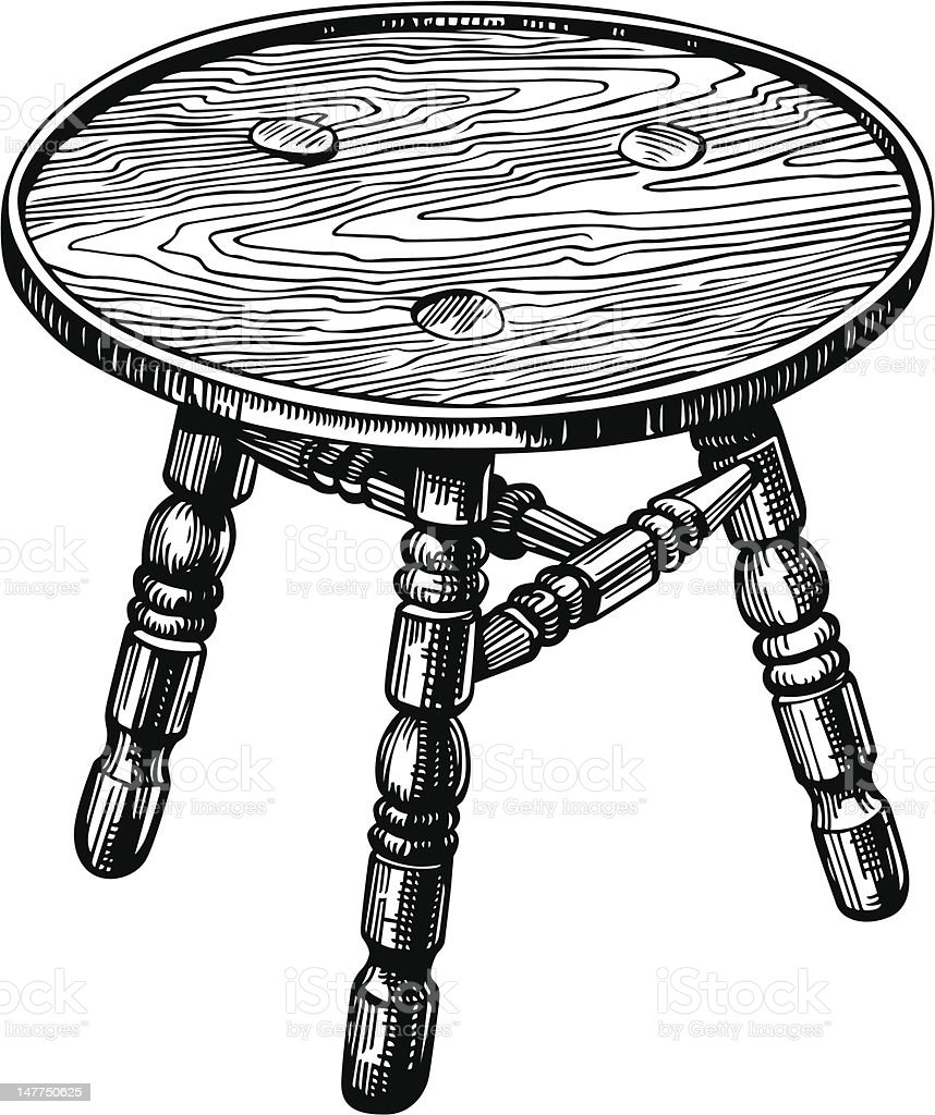 Stool made from natural wood royalty-free stock vector art
