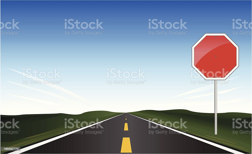 Stop ahead sign and road - VECTOR vector art illustration