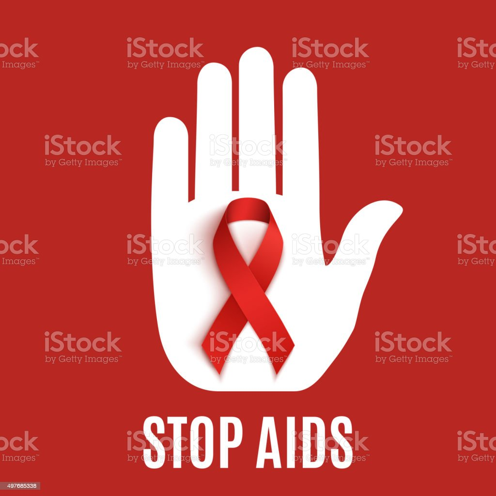 Stop AIDS background. vector art illustration
