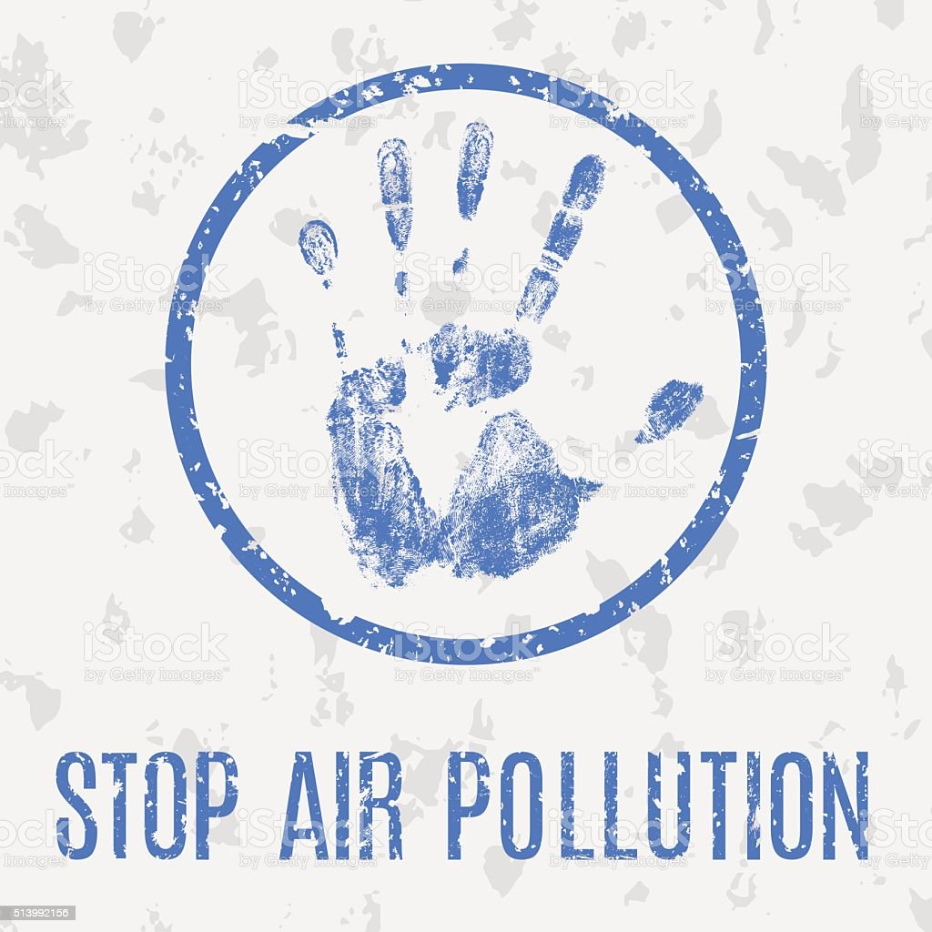 Stop air pollution vector sign vector art illustration