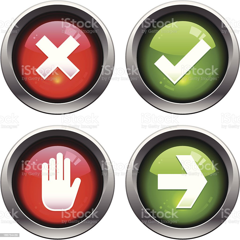Stop and Go Icons vector art illustration