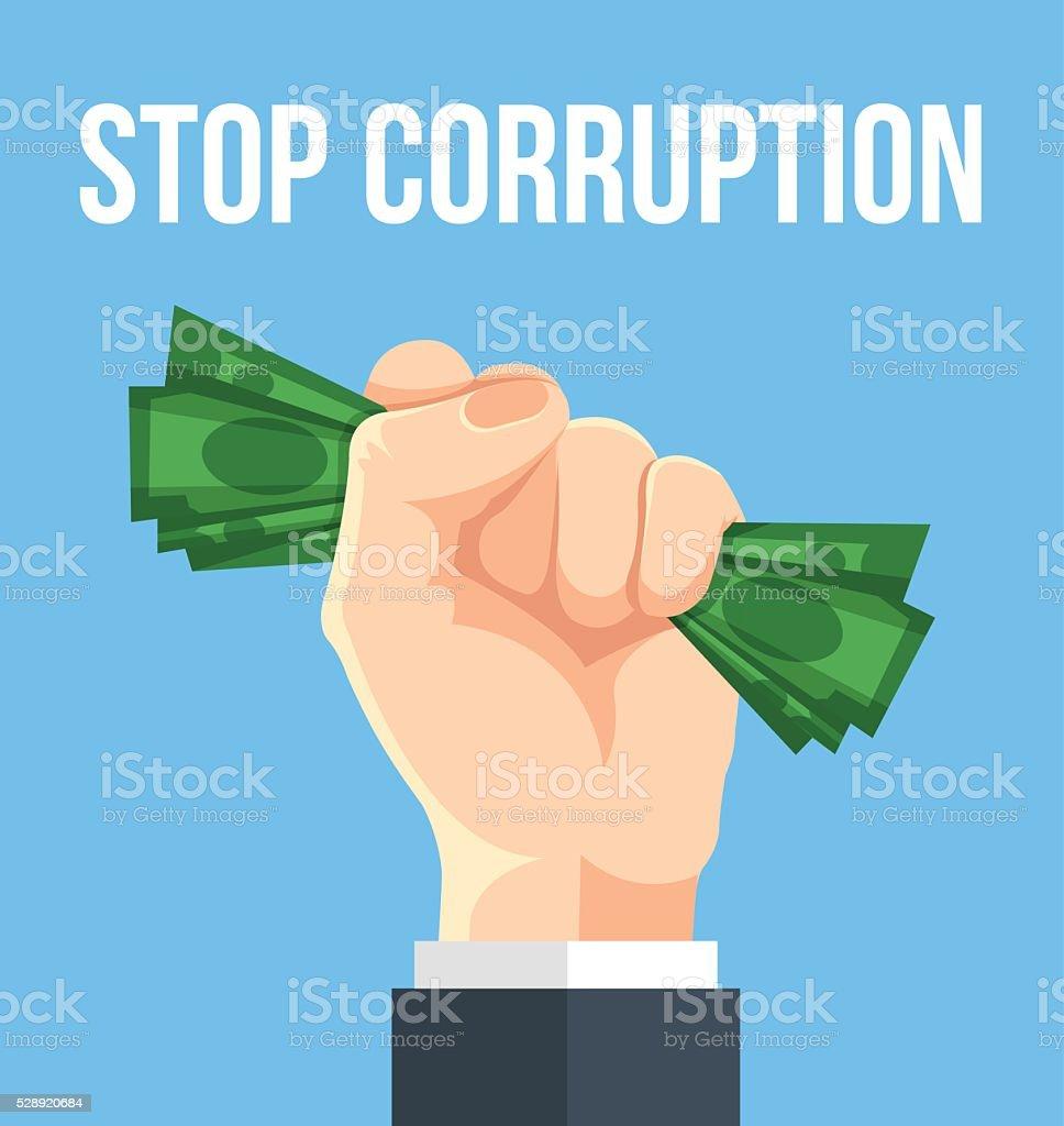 Stop corruption. Vector flat cartoon illustration vector art illustration