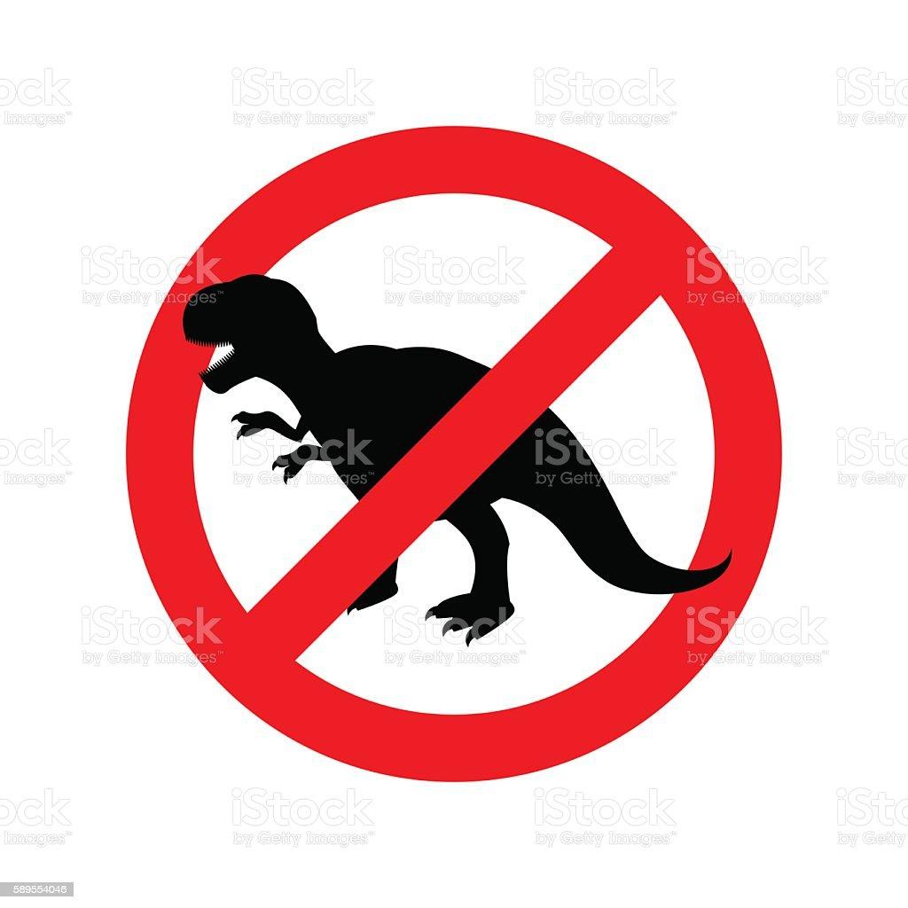 Stop dinosaur. Prohibited tirranozavr Rex. Crossed-aggressive pr vector art illustration
