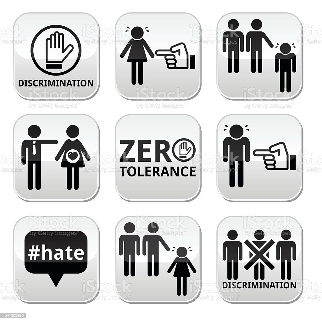 Stop discrimination of men, and women buttons set vector art illustration