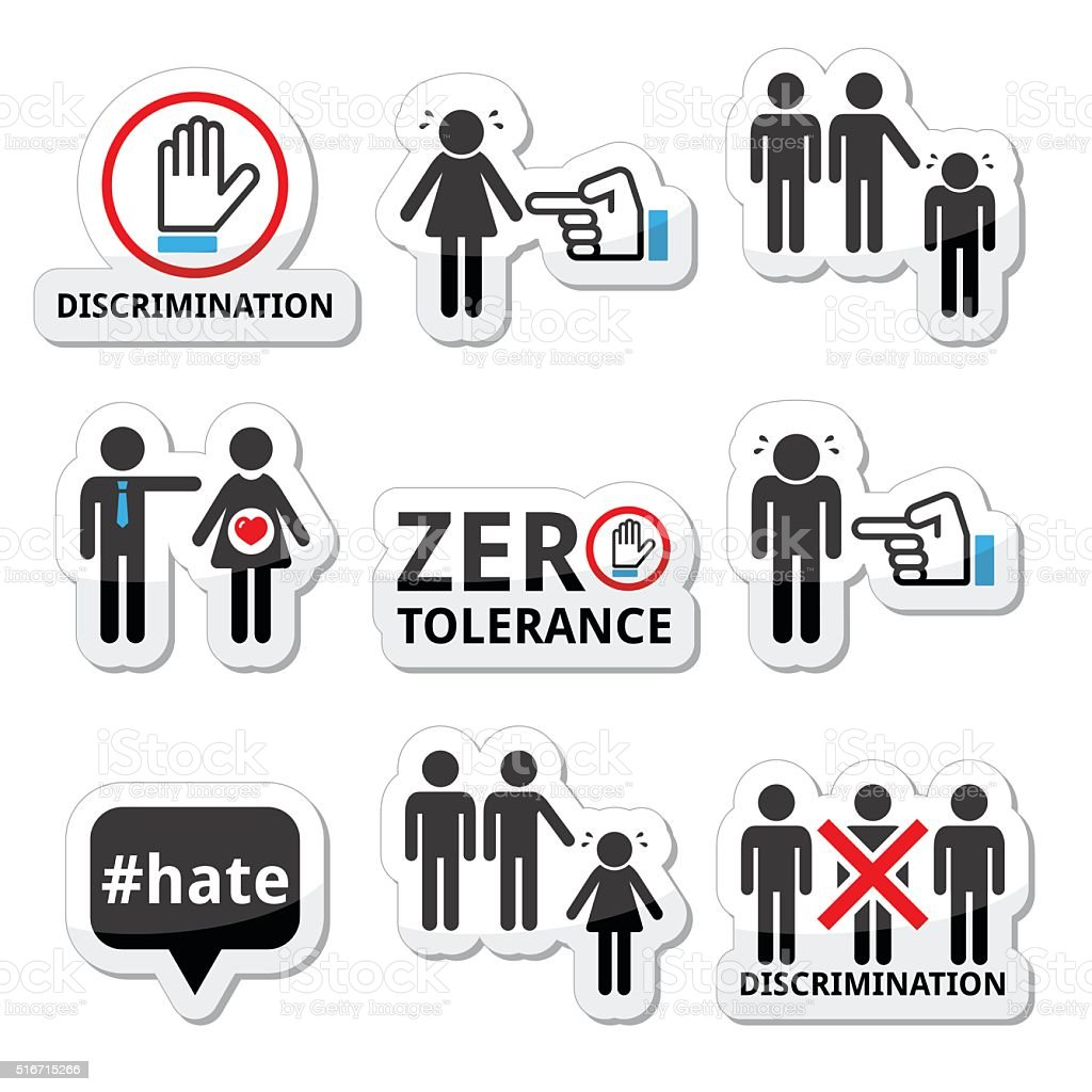 Stop discrimination of men, and women icons set vector art illustration