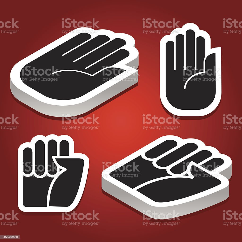 Stop / fist hands icons, isometric and flat royalty-free stock vector art
