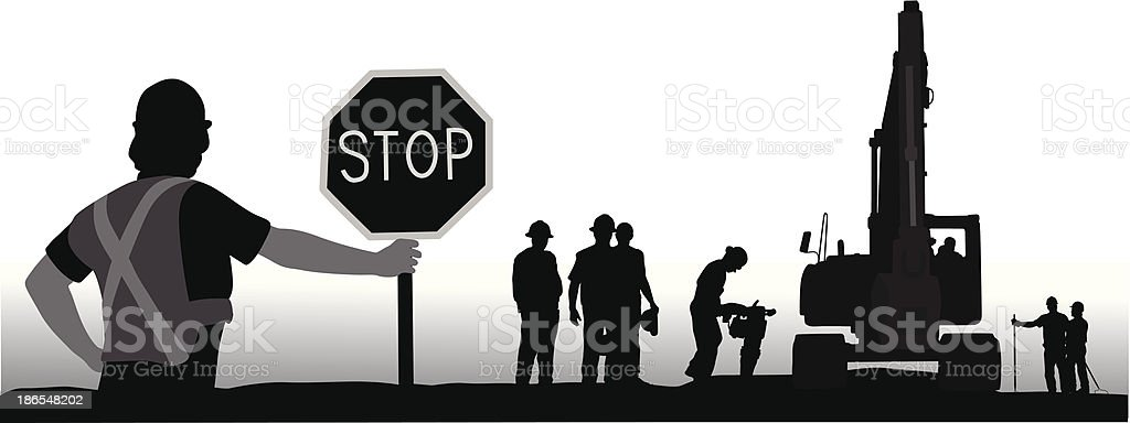 Stop For Workers vector art illustration