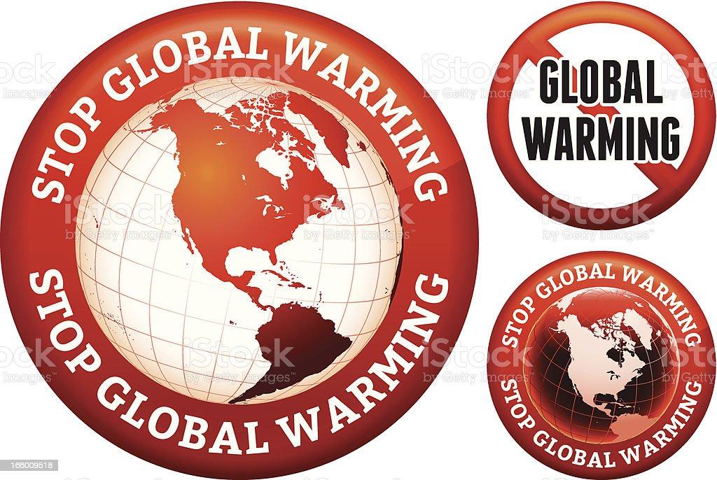 Stop Global Warming Sign Set royalty-free stock vector art