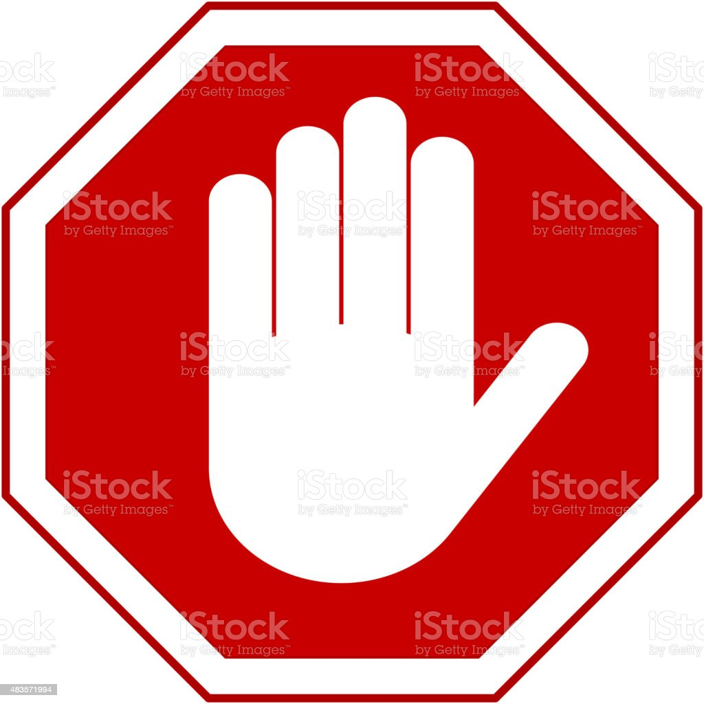 stop hand sign vector art illustration