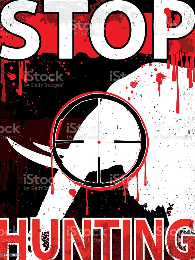 Stop hunting elephants Vertical placard vector art illustration
