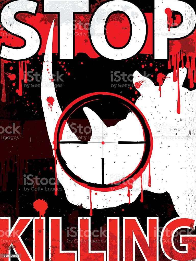 Stop killing rhinos Vertical placard vector art illustration