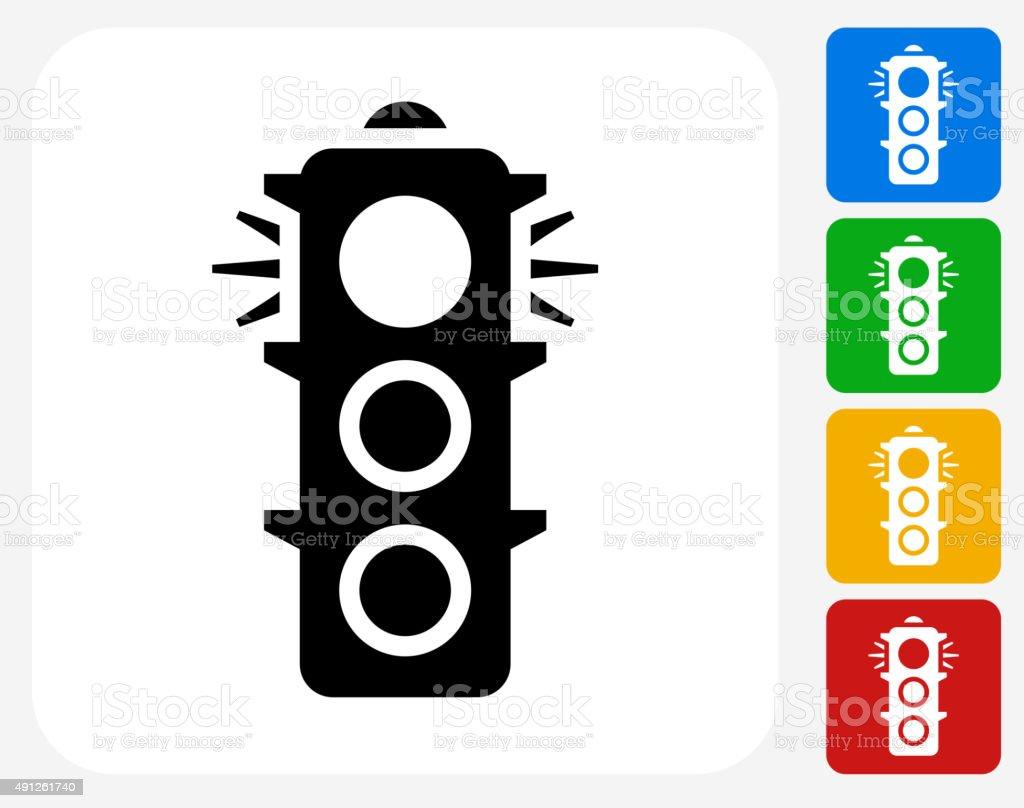 Stop Light Icon Flat Graphic Design vector art illustration