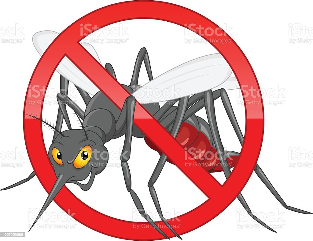 stop mosquito cartoon vector art illustration