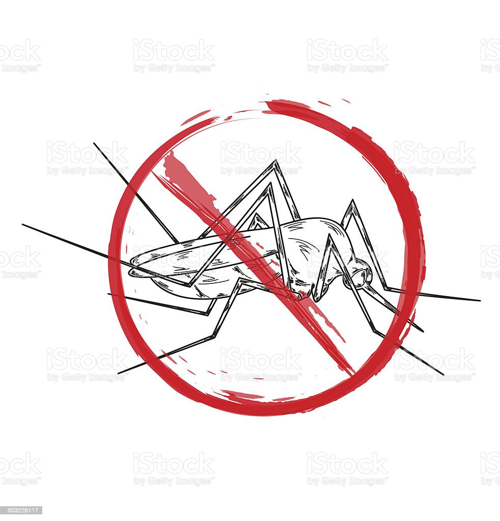 stop mosquito vector art illustration