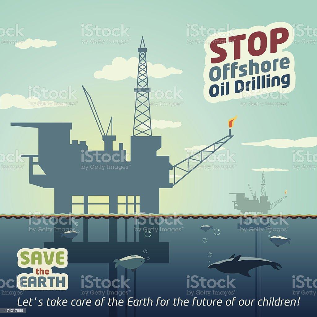 Stop offshore oil drilling vector art illustration