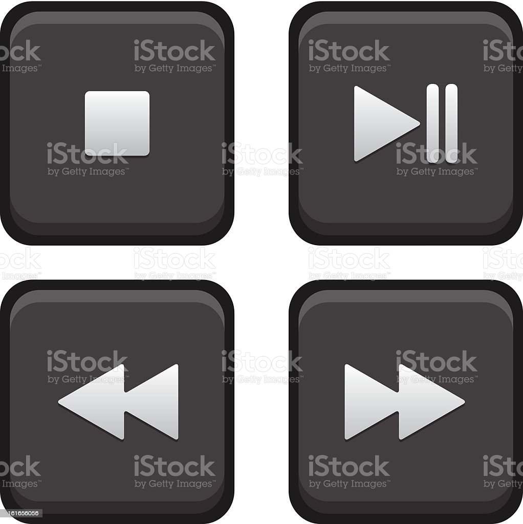 Stop, Play, Pause, Next and Back Square Buttons royalty-free stock vector art