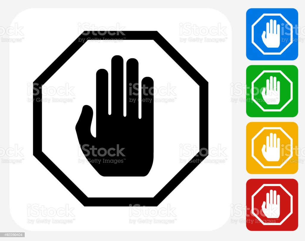 Stop Sign Icon Flat Graphic Design vector art illustration