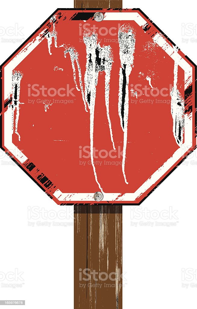 Stop Sign on Wood Post | Blank Grunge royalty-free stock vector art