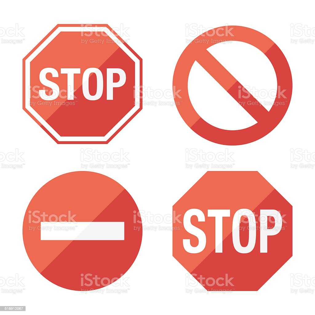 Stop sign, set. Flat design vector art illustration