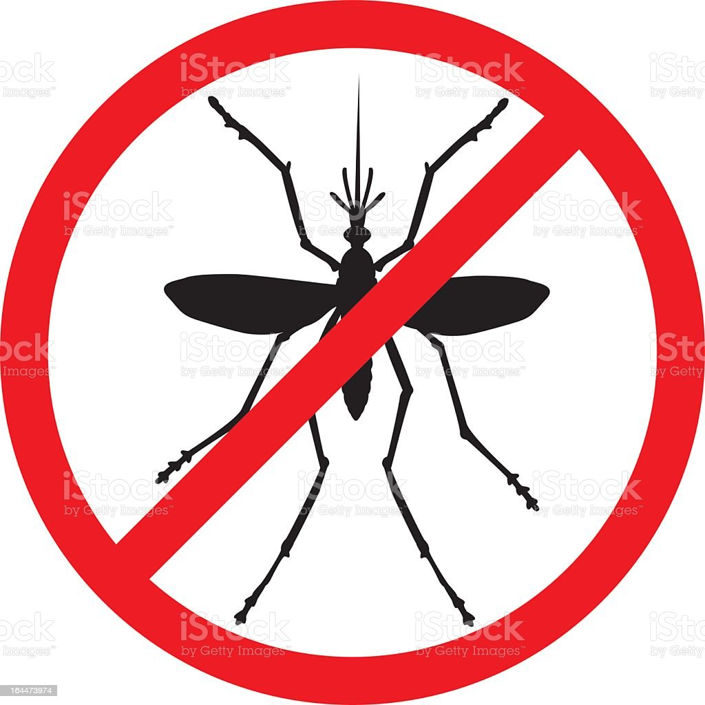 Stop sign with a mosquito inside royalty-free stock vector art