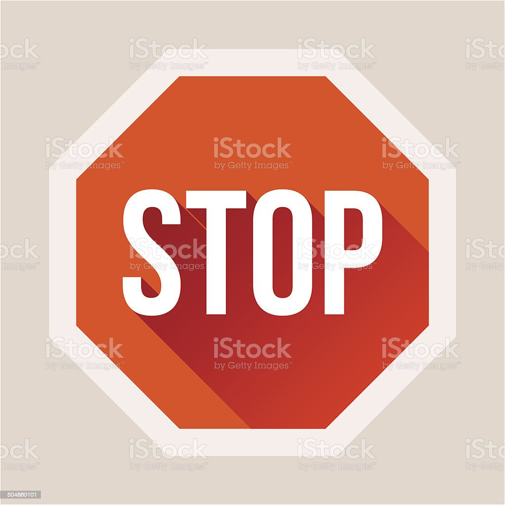 Stop sign with long shadow in flat style vector art illustration