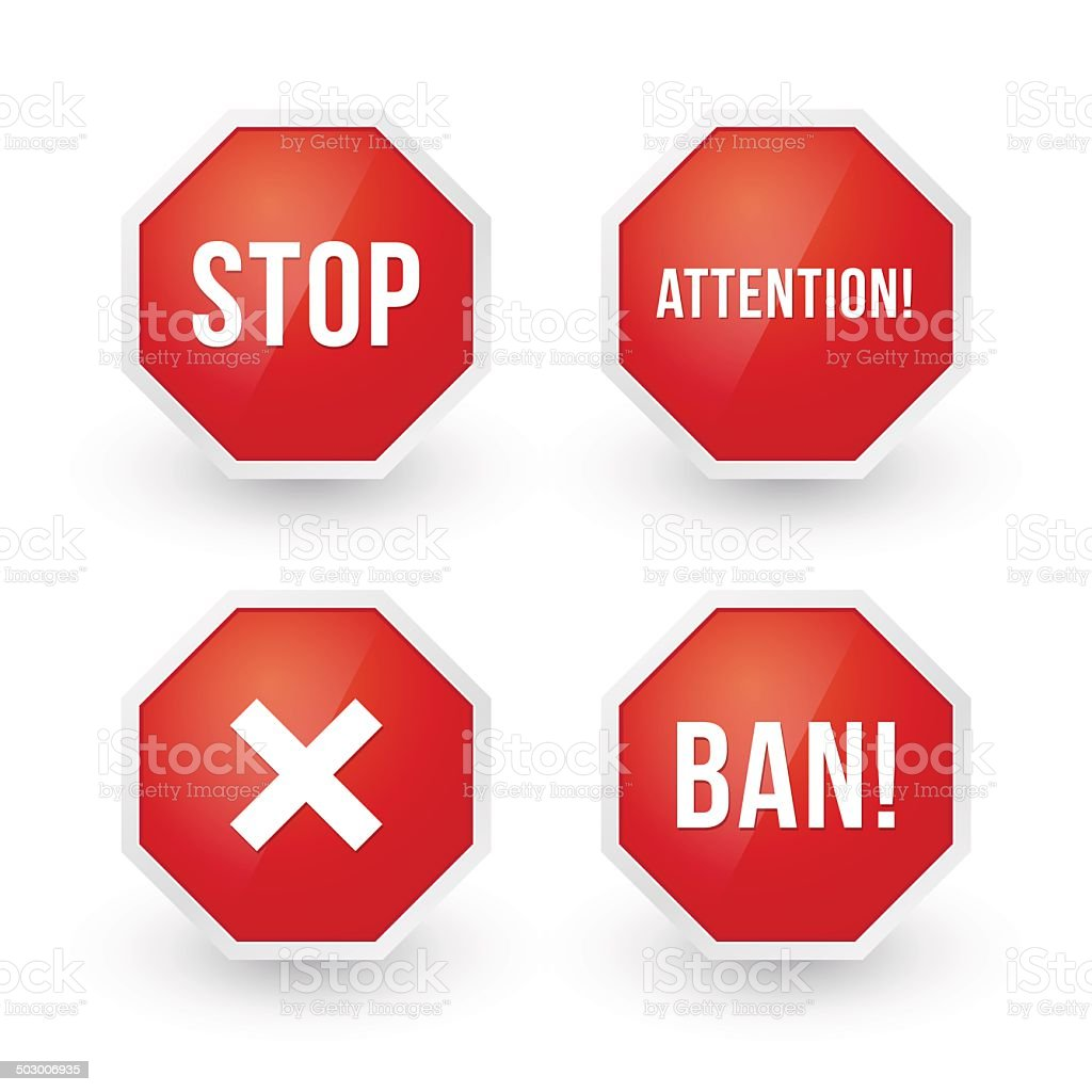 stop sign with various content vector art illustration