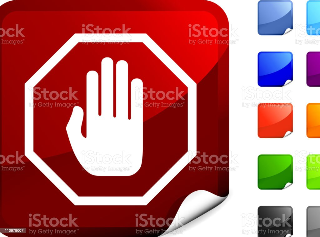stop symbol  icon on sticker royalty-free stock vector art