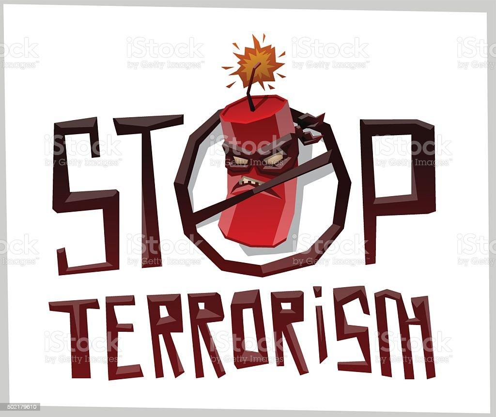 Stop terrorism, big round emblem with bomb in mask vector art illustration