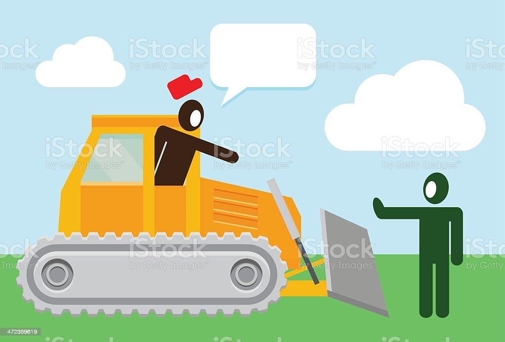 Stop the bulldozer royalty-free stock vector art