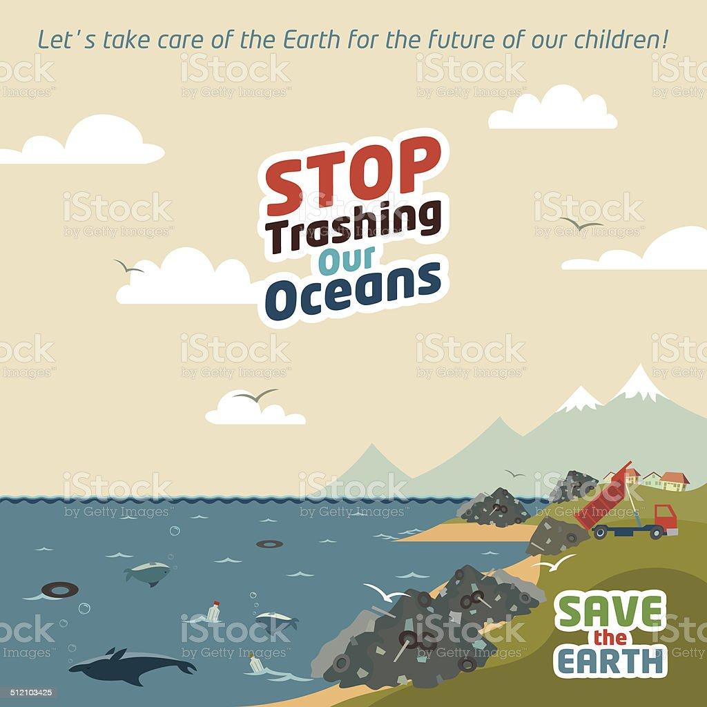 Stop trashing our oceans vector art illustration