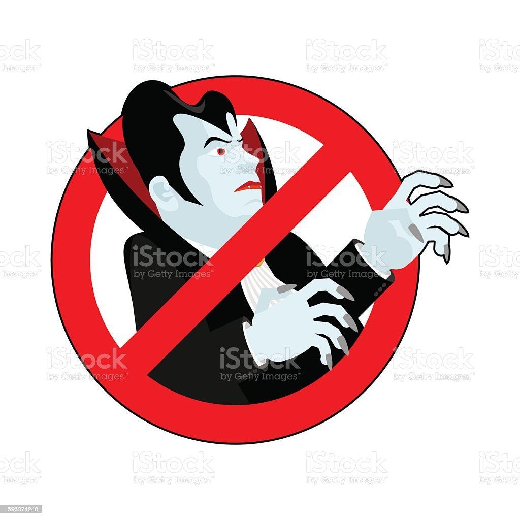 Stop vampire. It is forbidden to drink blood. Crossed-silhouette vector art illustration