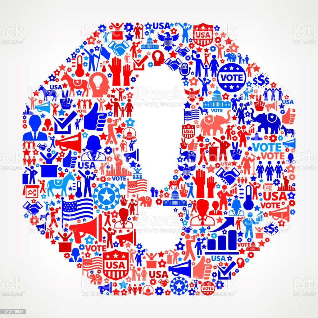 Stop Vote and Elections USA Patriotic Icon Pattern vector art illustration