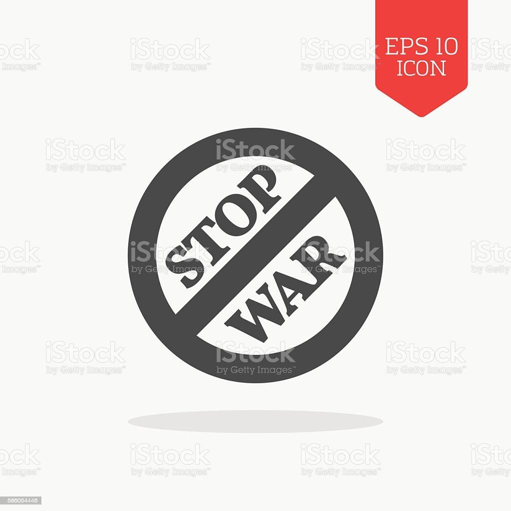 Stop war sign, concept icon. Flat design gray color symbol. vector art illustration
