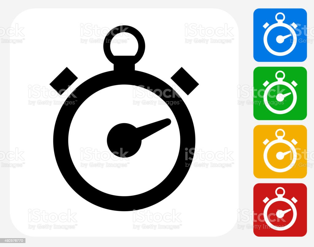 Stop Watch Icon Flat Graphic Design vector art illustration