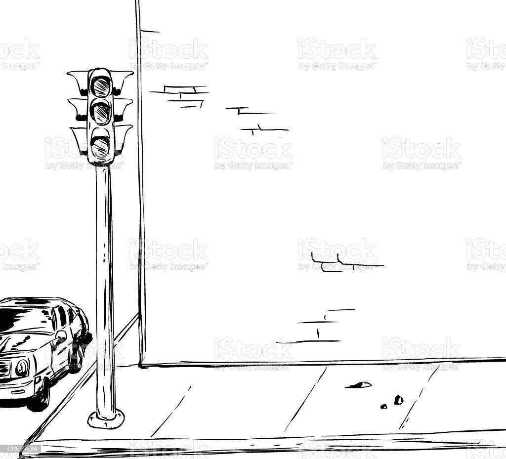 Stoplight on corner background outline vector art illustration