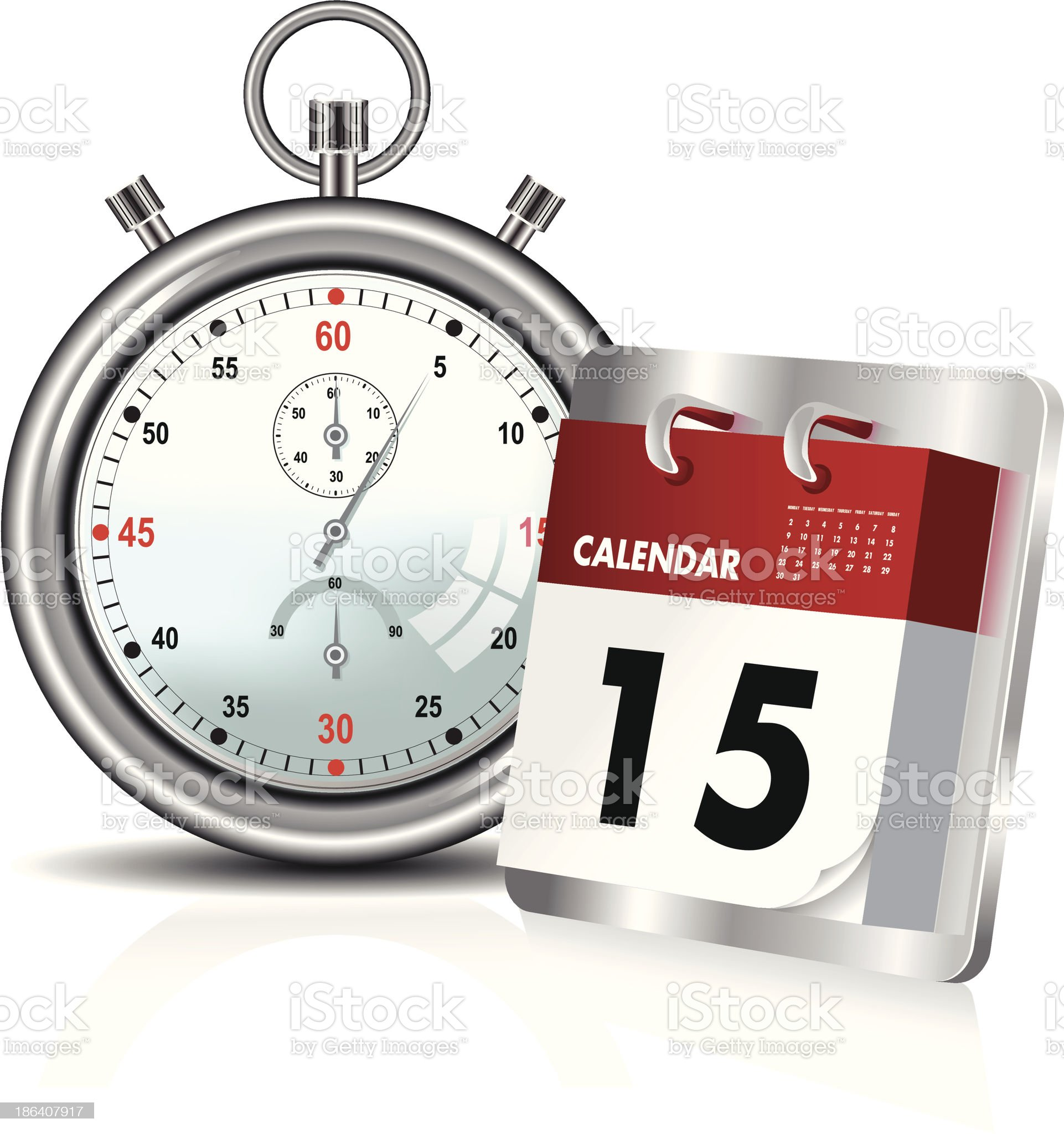 stopwatch and calendar royalty-free stock vector art