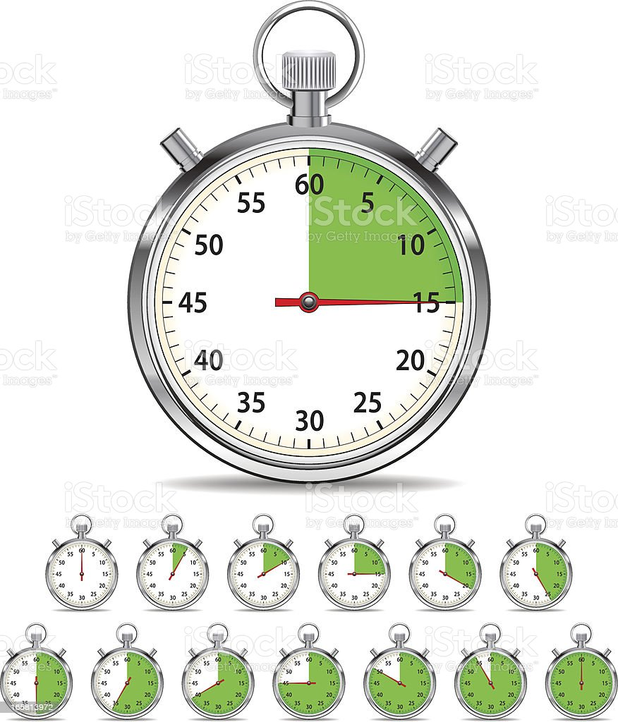 Stopwatch counting down vector art illustration